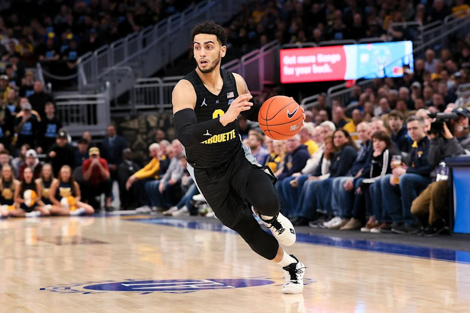 MILWAUKEE, WISCONSIN - FEBRUARY 29: Markus Howard #0 of the Marquette Golden Eagles dribbles the ball in the first half against the Seton Hall Pirates at the Fiserv Forum on February 29, 2020 in Milwaukee, Wisconsin. (Photo by Dylan Buell/Getty Images)