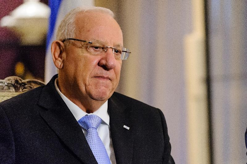 """Israeli President Reuven Rivlin, seen on January 28, 2015, in New York, said during talks with settler leaders that Israel had a """"right"""" to build settlements in the occupied West Bank"""