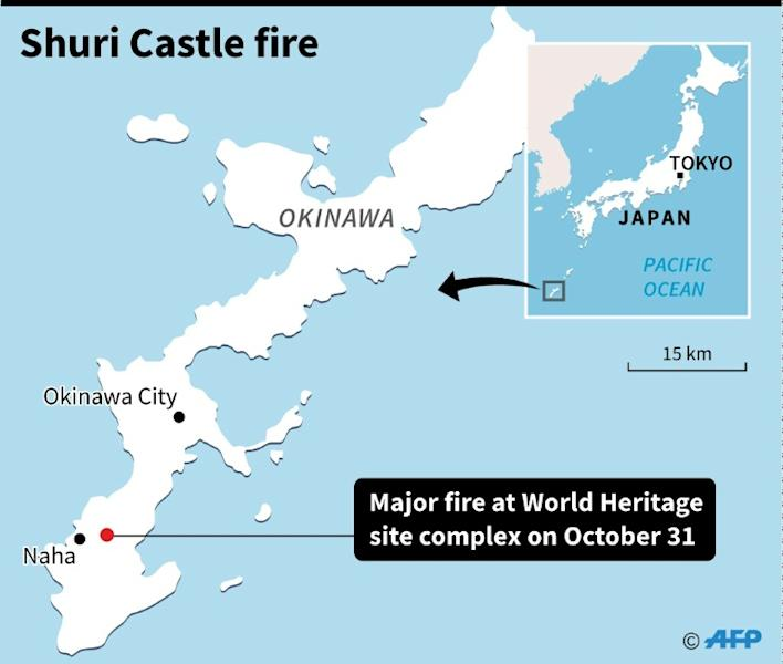Map locating World Heritage Shuri Castle on Japan's southern island of Okinawa where a major fire broke out on Thursday (AFP Photo/)