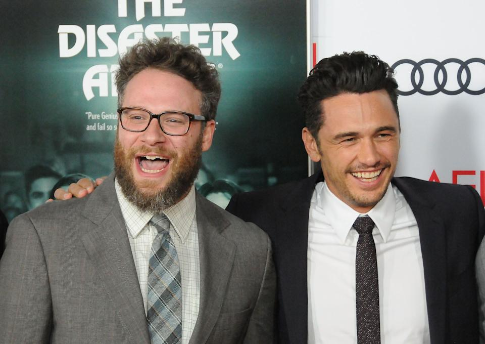 """Actors Seth Rogen and James Franco starred together in the 2017 movie """"Disaster Artist,"""" which Franco also directed. The two have worked side by side for years on comedies like """"Pineapple Express,"""" """"Sausage Party"""" and """"This Is The End."""" (Photo: Barry King via Getty Images)"""