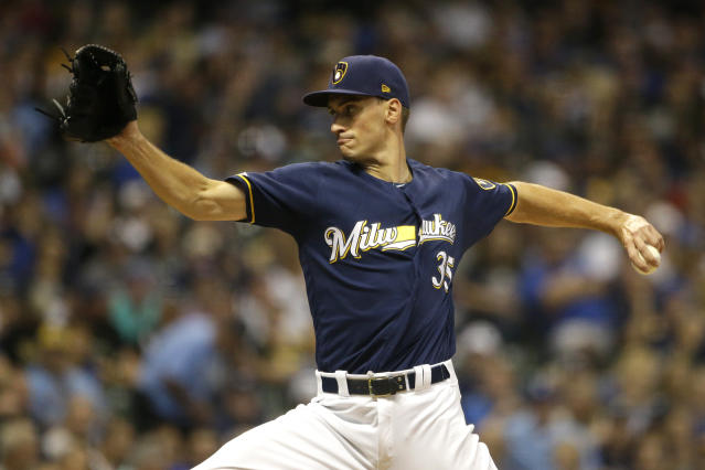 Milwaukee Brewers' Brent Suter pitches during the sixth inning of a baseball game against the Pittsburgh Pirates, Saturday, Sept. 21, 2019, in Milwaukee. (AP Photo/Aaron Gash)