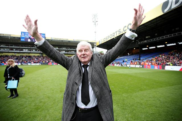 "Soccer Football - Premier League - Crystal Palace vs West Bromwich Albion - Selhurst Park, London, Britain - May 13, 2018 Commentator John Motson waves to the crowd after the match Action Images via Reuters/Matthew Childs EDITORIAL USE ONLY. No use with unauthorized audio, video, data, fixture lists, club/league logos or ""live"" services. Online in-match use limited to 75 images, no video emulation. No use in betting, games or single club/league/player publications. Please contact your account representative for further details."