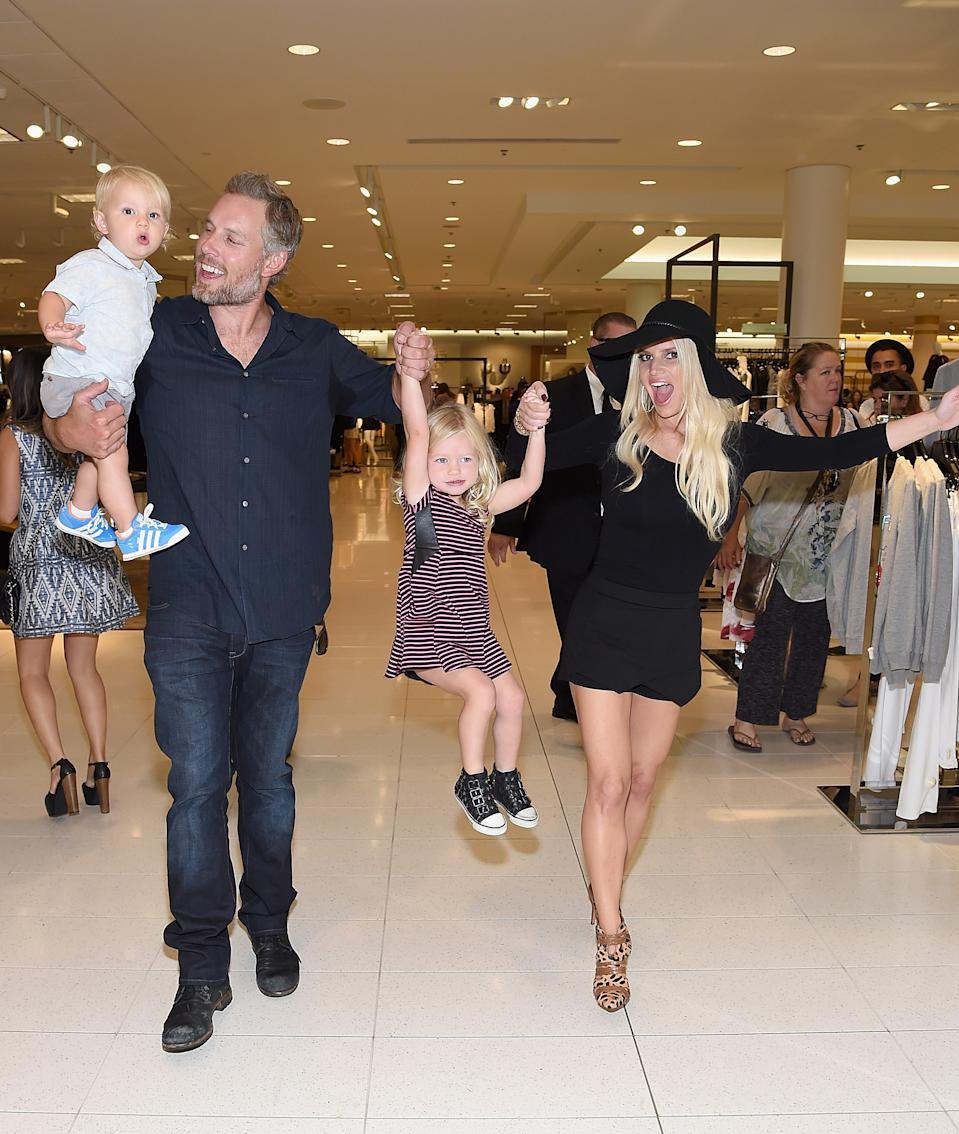 Ace Knute Johnson, Eric Johnson,Jessica Simpson wearing Jessica Simpson Collection and Maxwell Drew Johnson