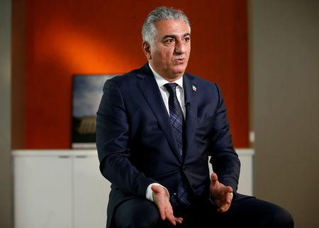 Reza Pahlavi, the last heir apparent to the defunct throne of the Imperial State of Iran, speaks during an interview with Reuters in Washington