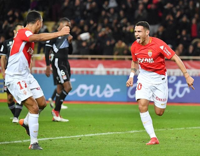Rony Lopes races away in delight after capping a stunning comeback win for Monaco over Lyon (AFP Photo/YANN COATSALIOU)