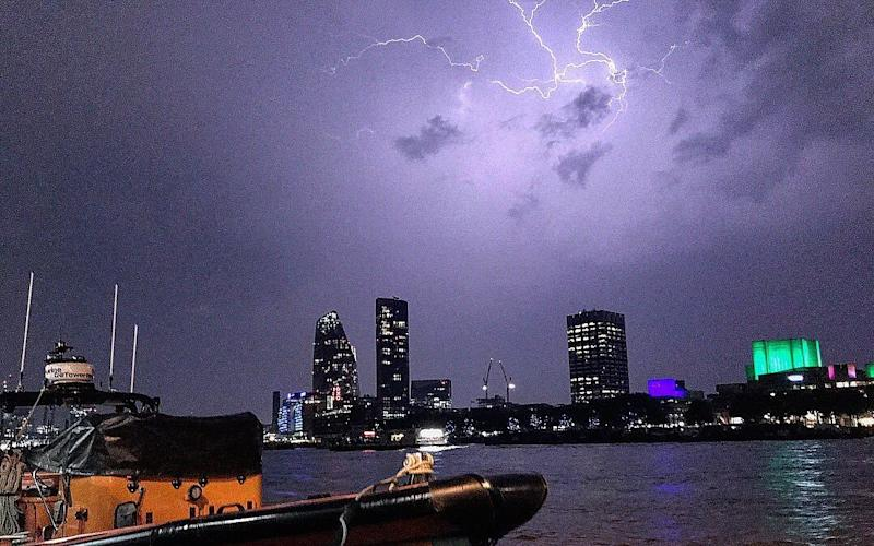 The sky over the south bank on the River Thames in London - TowerRNLI