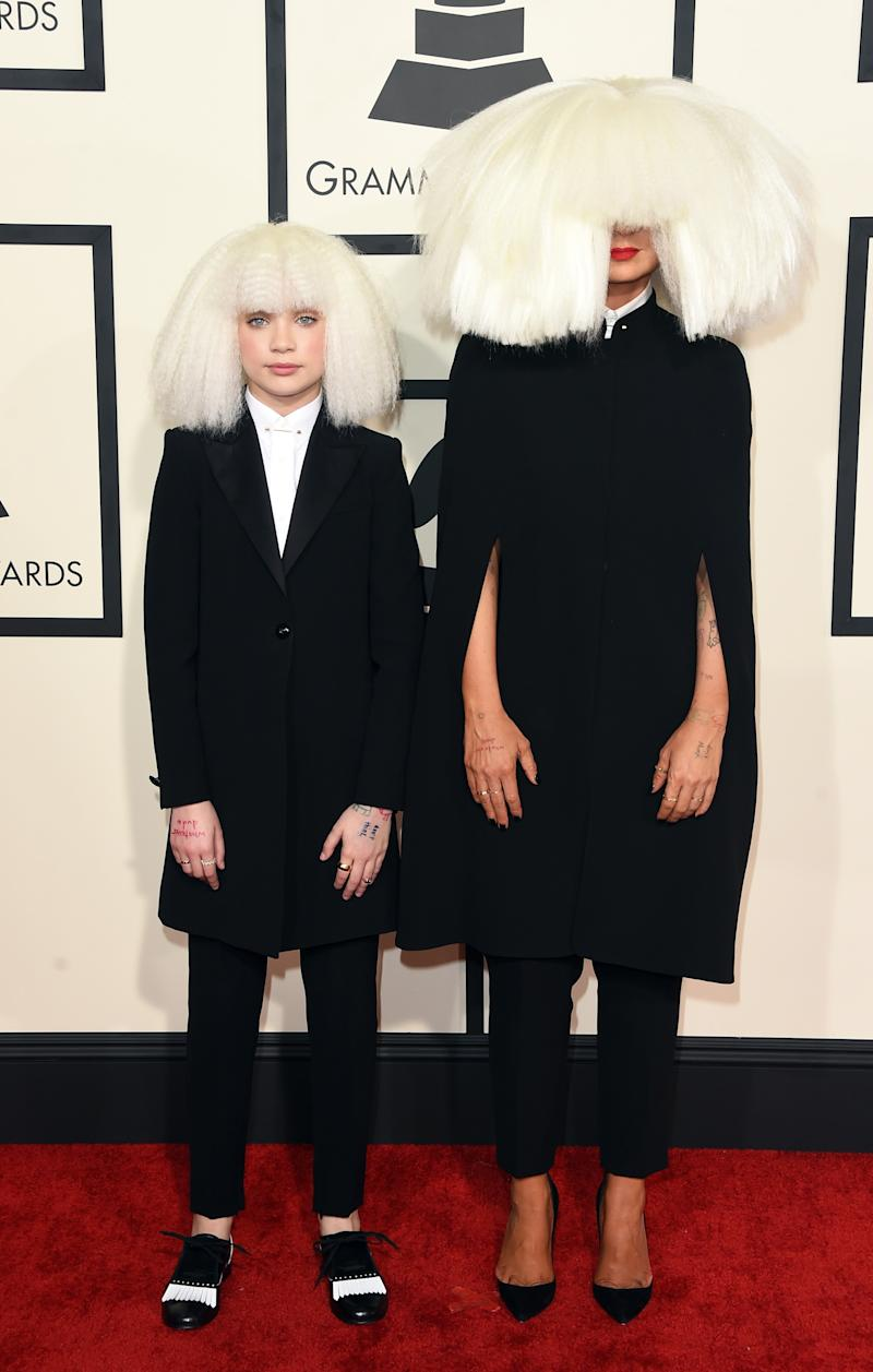 Sia and Maddie attend The 57th Annual GRAMMY Awards at the STAPLES Center on February 8, 2015 in Los Angeles, California.