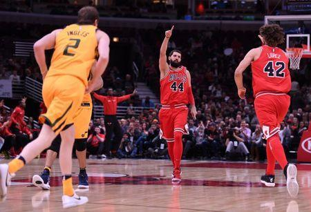 Dec 13, 2017; Chicago, IL, USA; Chicago Bulls forward Nikola Mirotic (44) reacts after scoring against the Utah Jazz during the first half at the United Center. Mike DiNovo-USA TODAY Sports