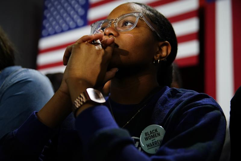 An attendee wears a button supporting Sen. Elizabeth Warren (D-MA), at a campaign event at Clark Atlanta University on Nov. 21, 2019.   Elijah Nouvelage—Getty Images