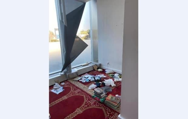 This picture posted to Facebook shows damage done to a Multi-Faith Prayer Room at Pearson's Terminal 3. According to the National Council of Canadian Muslims, the damage included copies of the Quran thrown onto the floor.