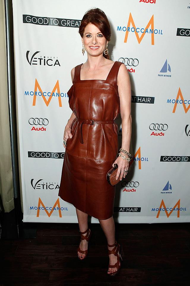 "Debra Messing should regret dumping her stylist, Rachel Zoe. Why? Because this leather belted Bottega Veneta dress is truly disgusting. Jeff Vespa/<a href=""http://www.wireimage.com"" target=""new"">WireImage.com</a> - February 26, 2009"