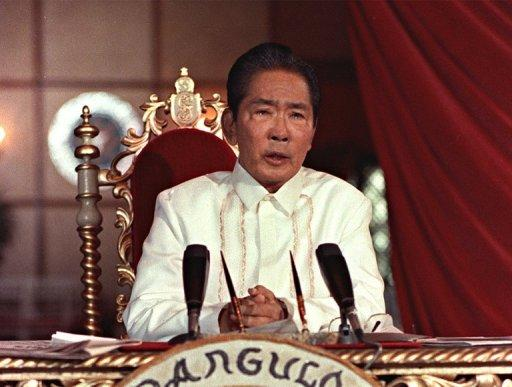 President Ferdinand Marcos holds a press conference in 1986 in Manila at Malacanang Presidential Palace