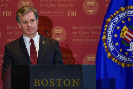 FBI Director Christopher Wray speaks at the 2018 Boston Conference on Cyber Security at Boston College in Boston