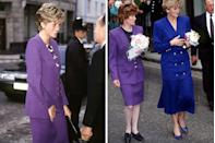 <p>Skirt suits were basically everyday wear in Princess Diana's 1990s wardrobe. In the early '90s, she wore this bold purple suit with a coordinating floral top underneath before giving it away to her sister. </p><p>Lady Sarah McCorquodale was later photographed wearing the gold-buttoned purple suit on a walkabout in Nottingham with the Princess of Wales on September 9, 1992. She accessorized the suit with black flats and a black top underneath, while her sister wore a similar suit in cobalt blue.</p>