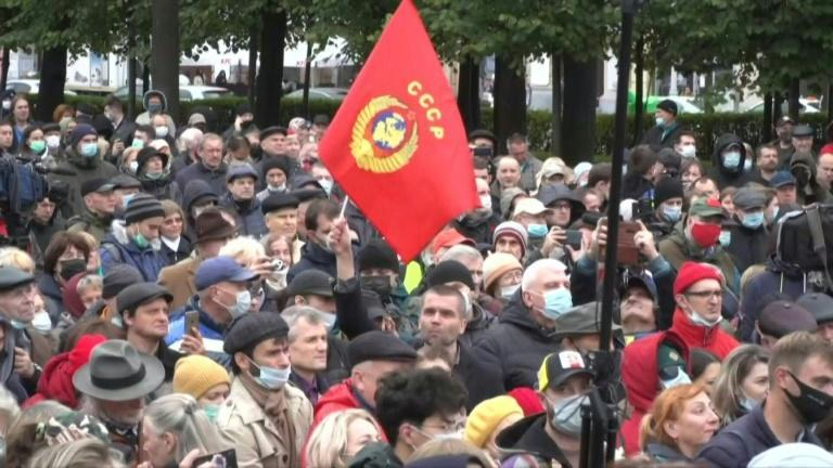 Communist Party protest in Moscow against legislative election results (AFP/Andrey BORODULIN)