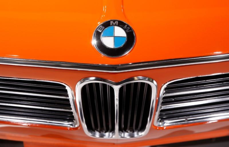 Logo of BMW is seen on a BMW 2002 tii Touring car in Zurich