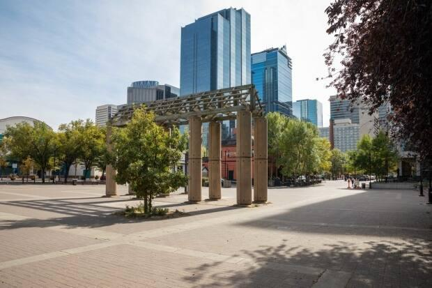 The City of Calgary has packed up the Eau Claire arch and hauled it off to storage as the plaza gets a facelift.  (City of Calgary - image credit)