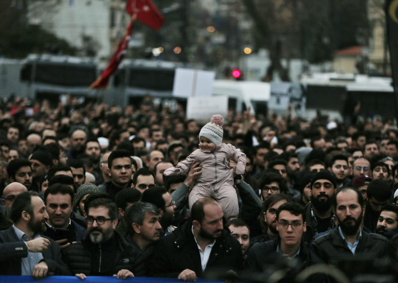 Demonstrators participate in a protest against the mosque attacks in New Zealand during a protest in Istanbul, Saturday, March 16, 2019. Thousands of demonstrators have protested the New Zealand mosque shootings outside Istanbul's Hagia Sophia _ a Byzantine-era cathedral that was turned into a mosque and now serves as a museum.The demonstrators _ mostly members of Islamic-leaning civil society groups _ called for the symbolic edifice to be reconverted into a mosque. (AP Photo/Lefteris Pitarakis)