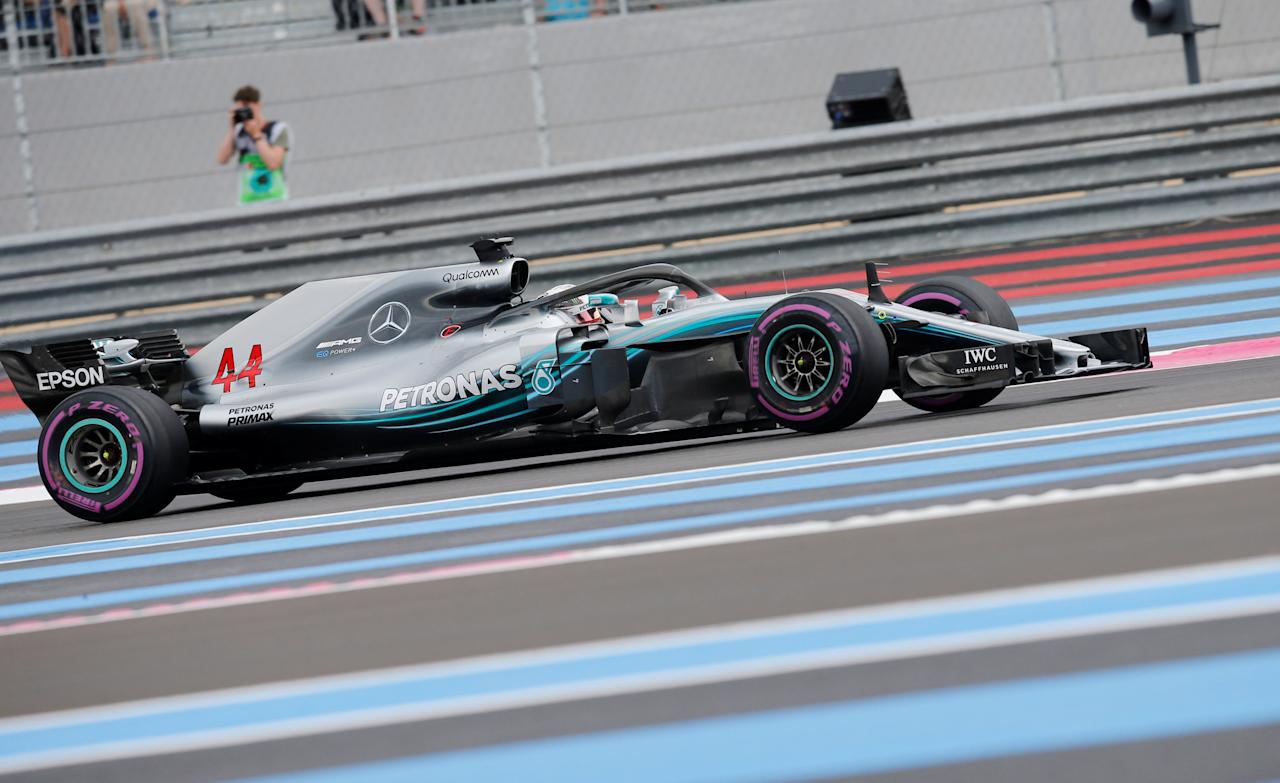 Formula One F1 - French Grand Prix - Circuit Paul Ricard, Le Castellet, France - June 23, 2018   Mercedes' Lewis Hamilton in action during qualifying    REUTERS/Jean-Paul Pelissier
