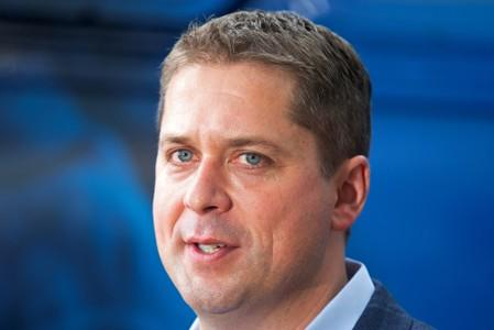 Conservative Party leader Andrew Scheer speaks to the media as he launches his election campaign in Trois-Rivieres