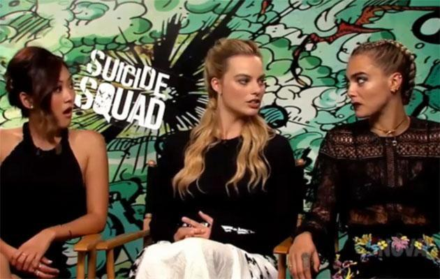 Margot and her Suicide Squad co-stars Karen Fukuhara and Cara Delevingne contemplate the Photoshop controversy. Source: Smallzy's Surgery