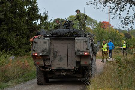 A passenger train collided with a tank and derailed, where the Swedish Military exercise Aurora 17 is taking place, near Trosa, south of Stockholm, Sweden, September 26, 2017. TT News Agency via REUTERS    ATTENTION EDITORS - THIS IMAGE WAS PROVIDED BY A THIRD PARTY. SWEDEN OUT. NO COMMERCIAL OR EDITORIAL SALES IN SWEDEN. NO COMMERCIAL SALES.