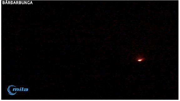 A webcam screen capture shows glowing lava erupting north of Iceland's Bardarbunga volcano.