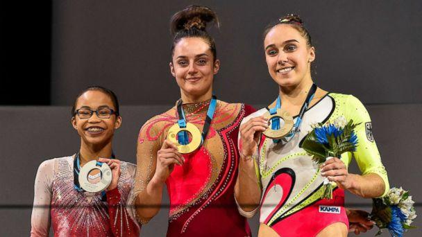 PHOTO: (L-R) Morgan Hurd of the United States, Pauline Schaefer of Germany and Tabea Alt of Germany pose with their medals during the individual apparatus finals of the Artistic Gymnastics World Championships, Oct. 8, 2017 at Olympic Stadium in Montreal. (Minas Panagiotakis/Getty Images)