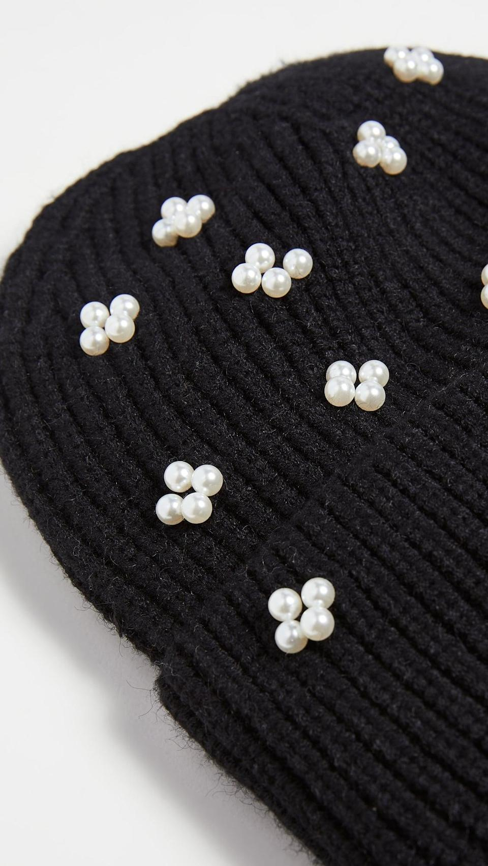 <p>If you're feeling fancy, go for this <span>Lele Sadoughi Pearl Cluster Beanie</span> ($150).</p>