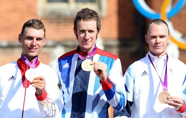 Wiggins winning gold at London 2012 (Photo by Action Images / Paul Childs Livepic)