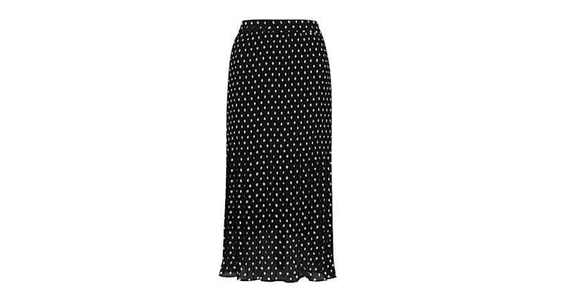 Polka Dot Plisse Midi Skater Skirt