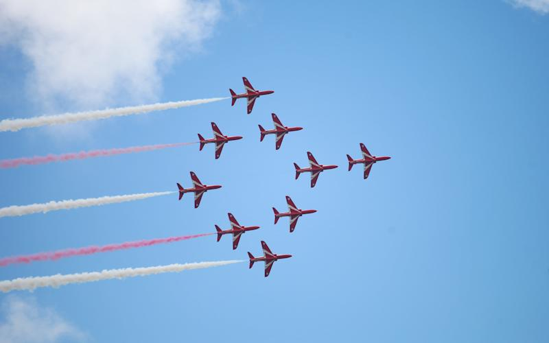 RAF Red Arrows display team in action - Credit: MarcusDodridge