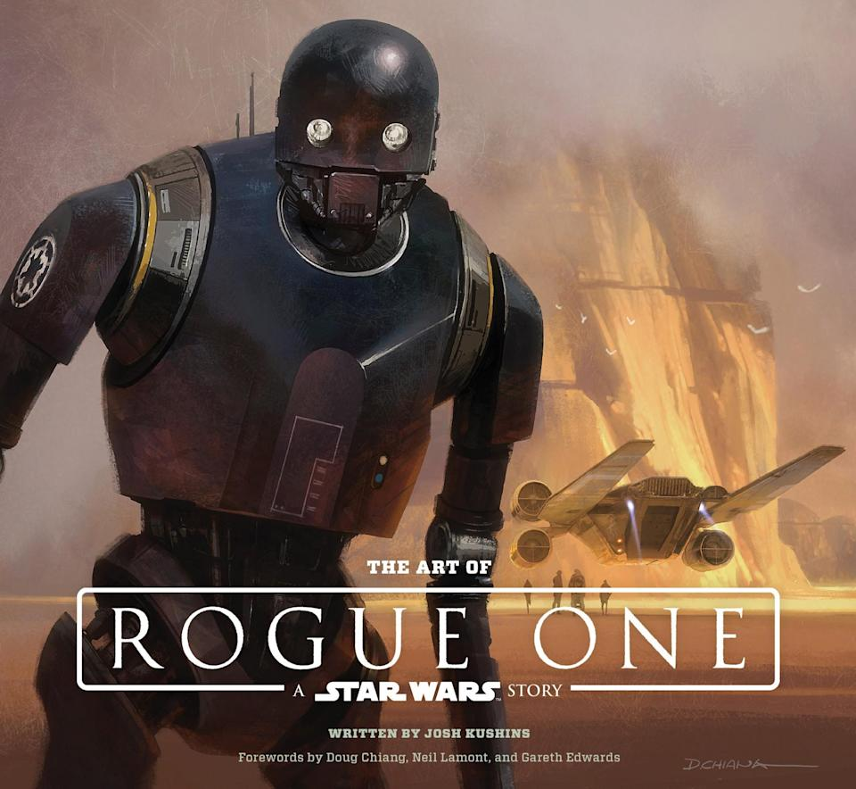 <p>The book's cover image features a concept painting of a near-final K-2SO on Jedha with U-wing and Holy City in the background. </p>