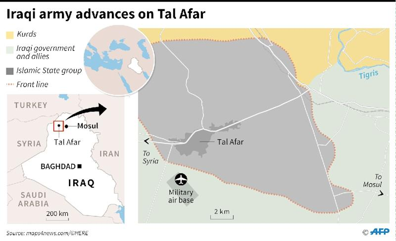 Map locating Iraqi city of Tal Afar and government forces closing in on Islamic State (IS) fighters there. (AFP Photo/Iris ROYER DE VERICOURT)