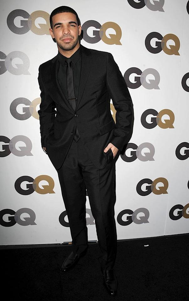 """Rapper Drake was among the eye candy at the GQ Men of the Year bash at the Chateau Marmont in West Hollywood on Wednesday night. The dapper star -- named the mag's """"Breakout of the Year"""" -- and other guests feasted on mini grilled cheese sandwiches, mini burgers from Umami Burger, mini cupcakes from SusieCakes Bakery, and more, according to <a href=""""http://www.usatoday.com/life/people/2010-11-18-gq-men-of-year_N.htm"""" target=""""new"""">USA Today</a>. Steve Granitz/<a href=""""http://www.wireimage.com"""" target=""""new"""">WireImage.com</a> - November 17, 2010"""