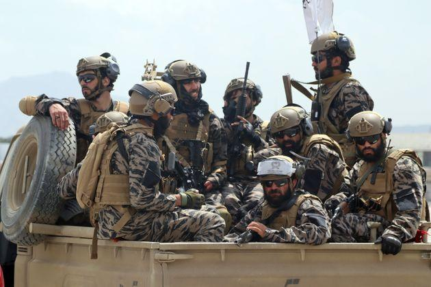 <strong>Taliban special forces fighters arrive inside the Hamid Karzai International Airport after the US military's withdrawal.</strong> (Photo: via Associated Press)