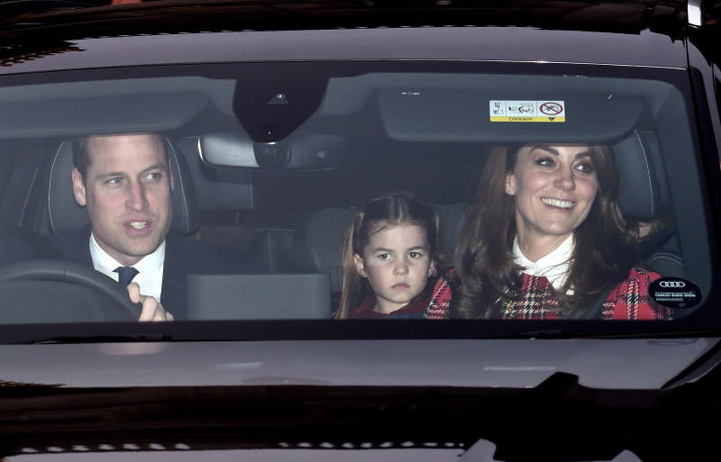 LONDON, ENGLAND - DECEMBER 18: Prince William, Duke of Cambridge, Princess Charlotte of Cambridge and Catherine, Duchess of Cambridge attend Christmas Lunch at Buckingham Palace on December 18, 2019 in London, England. (Photo by Karwai Tang/WireImage)