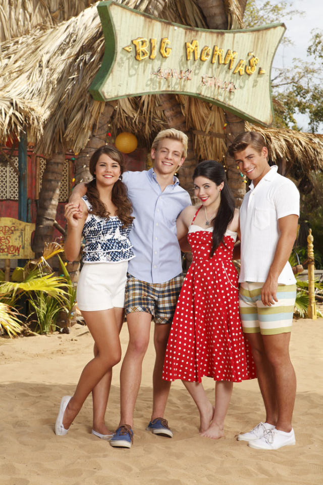 "Disney Channel's ""Teen Beach Movie"" stars Maia Mitchell as McKenzie, Ross Lynch as Brady, Grace Phipps as Lela, and Garrett Clayton as Tanner."