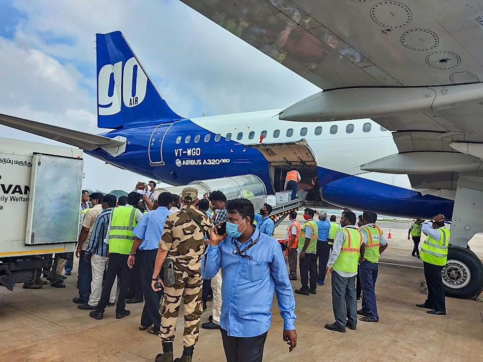 First consignment of COVID-19 vaccination arrives at Chennai Airport.