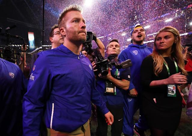Los Angeles head coach Sean McVay walks off the field after his Rams fall 13-3 to the New England Patriots in Super Bowl 53 (AFP Photo/JAMIE SQUIRE)