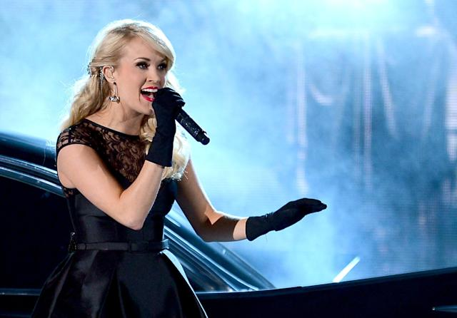 LAS VEGAS, NV - APRIL 07: Musician Carrie Underwood performs onstage during the 48th Annual Academy of Country Music Awards at the MGM Grand Garden Arena on April 7, 2013 in Las Vegas, Nevada. (Photo by Ethan Miller/Getty Images)
