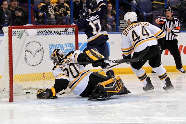 Boston Bruins goalie Malcolm Subban is unable to stop the puck on a shot by St. Louis Blues' Petteri Lindbohm (not pictured), of Finland, during the second period of an NHL hockey game Friday, Feb. 20, 2015, in St. Louis. (AP Photo/Scott Kane)