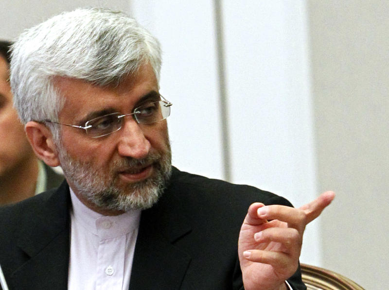 Iran's Supreme National Security Council Secretary and chief nuclear negotiator Saeed Jalili speaks during talks on Iran's nuclear program in Almaty, Kazakhstan, Wednesday, Feb. 27, 2013. World powers hope Iran will respond positively on Wednesday to their new offer to lift some sanctions if Tehran scales back nuclear activity the West fears could be used to build bombs. (AP Photo/ Shamil Zhumatov, Pool)