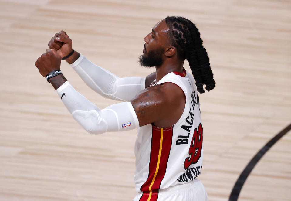 Miami's Jae Crowder celebrates a second straight win to open the Eastern Conference finals. (Kevin C. Cox/Getty Images)