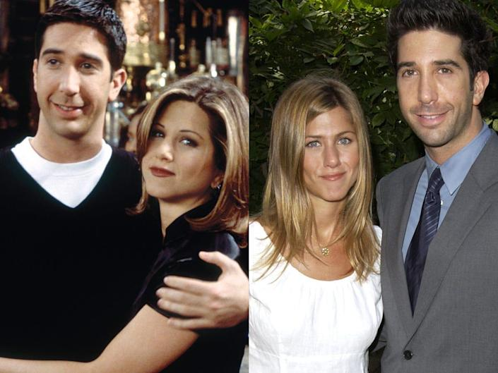 """On the left: David Schwimmer and Jennifer Aniston on the set of """"Friends."""" On the right: The two stars in September 2003."""
