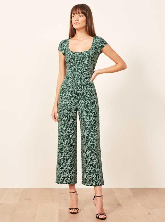Hailee Steinfeld's green print jumpsuit. (Photo: The Reformation)