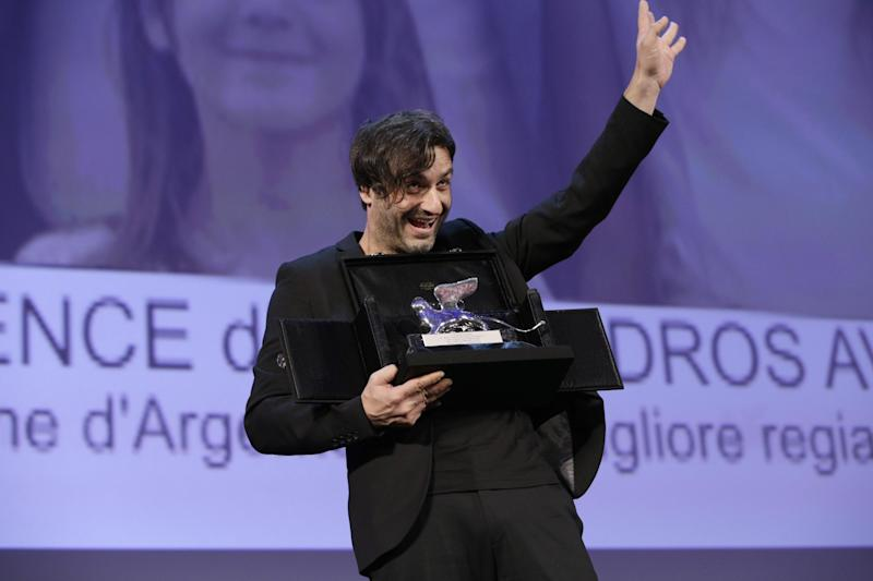 Director Alexandros Avranas holds the Silver Lion for Best Director for the film Miss Violence, during the awards ceremony of the 70th edition of the Venice Film Festival in Venice, Italy, Saturday, Sept. 7, 2013. (AP Photo/Andrew Medichini)