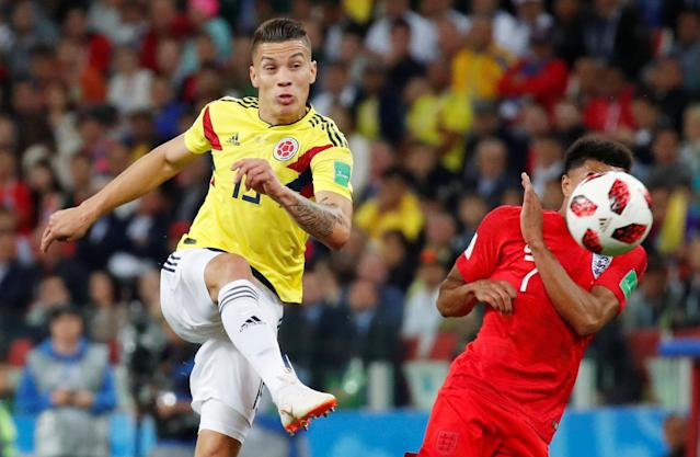 Soccer Football – World Cup – Round of 16 – Colombia vs England – Spartak Stadium, Moscow, Russia – July 3, 2018 Colombia's Mateus Uribe in action with England's Jesse Lingard REUTERS/Maxim Shemetov