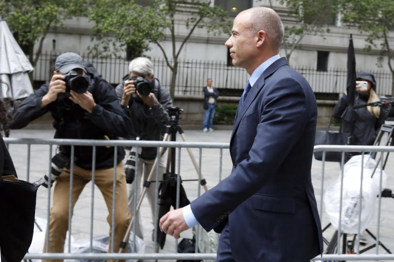 Michael Avenatti is is photographed as he leaves a federal courthouse in New York, Tuesday, May 28, 2019, after a hearing where he pleaded not guilty to charges that he defrauded his most famous client, porn star Stormy Daniels. (AP Photo/Richard Drew)