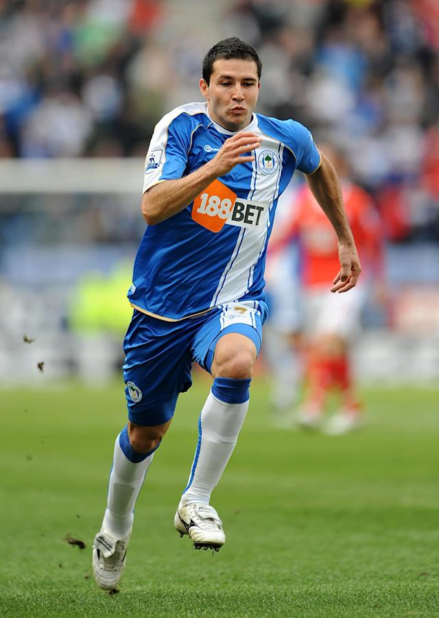 File photo dated <span> of Wigan Athletic's Antolin Alcaraz.</span>